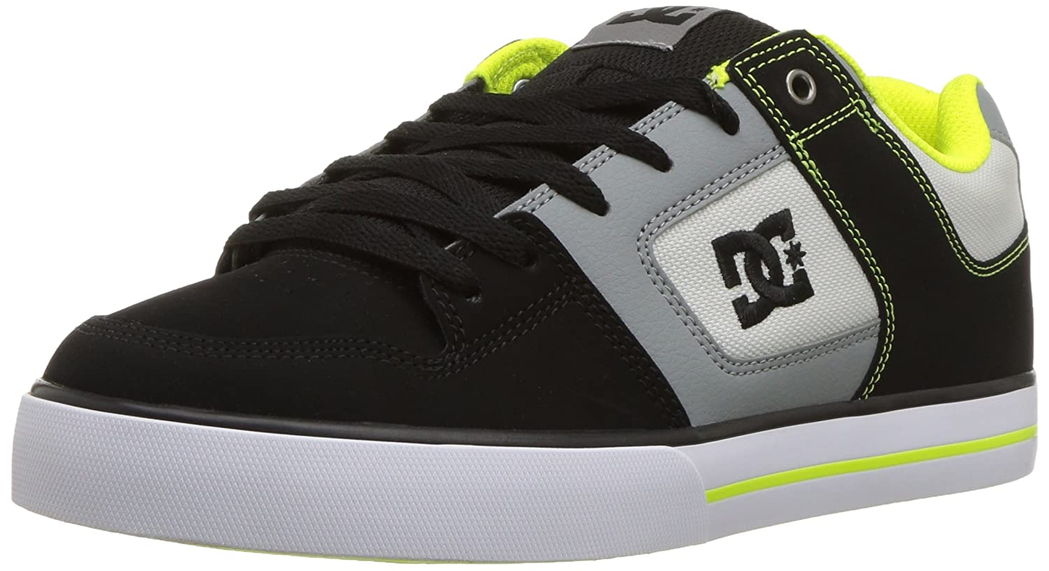 DC Men's Pure Action Sport Sneaker 6 D D US|Grey/Lime Green