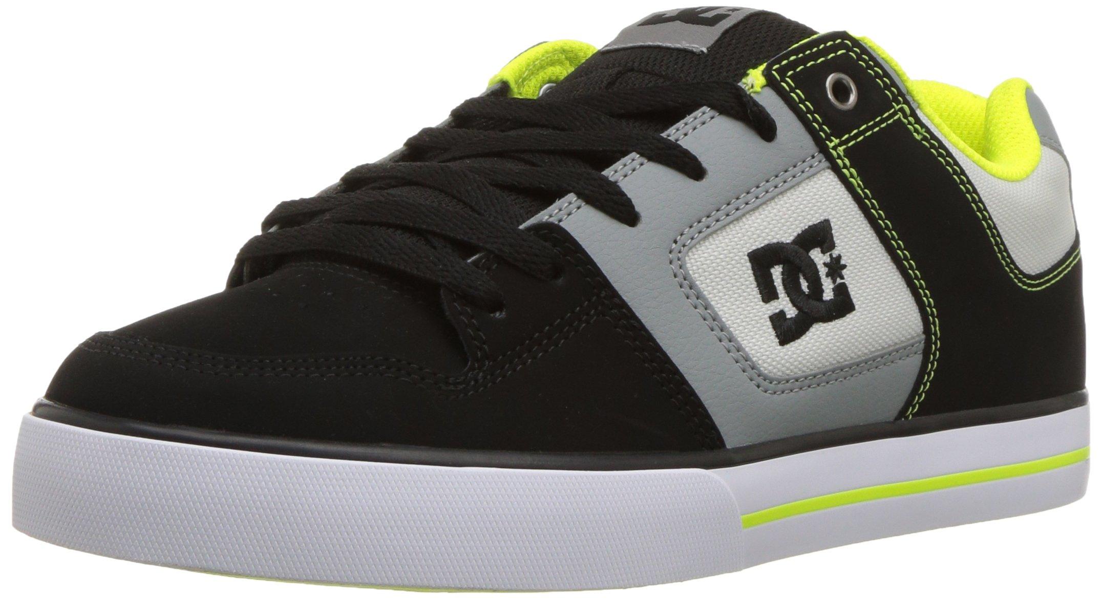 DC Men's Pure Action Skate Shoe, Grey/Lime Green 6 D D US
