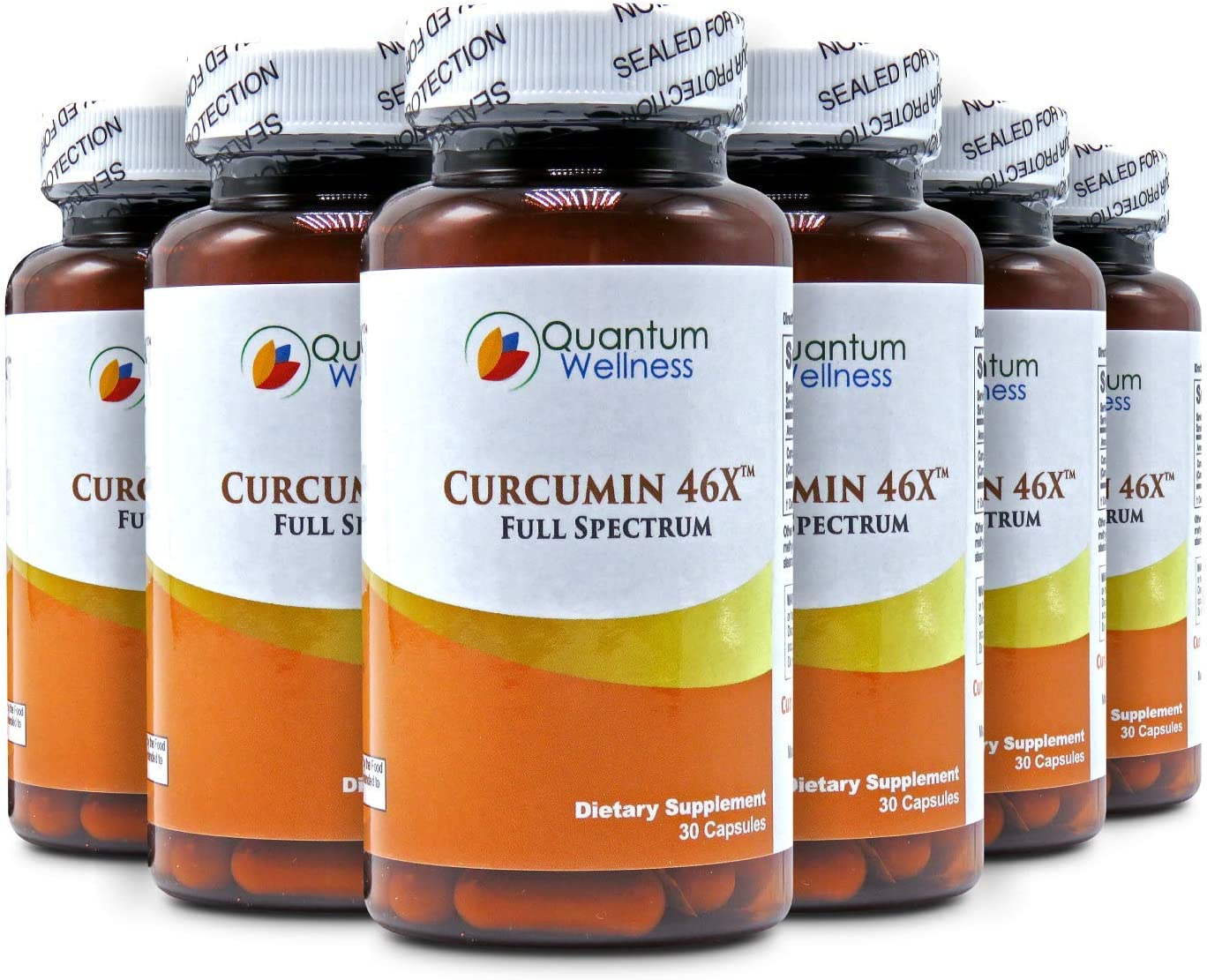 Curcumin 46x with Turmeric, Anti-Inflammatory, Anti-Oxidant with Curcuwin for 46X Higher Bioavailability for Better Absorption for Joint Pain Relief. Made in The USA 6 Bottles – 180 Capsules