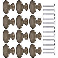 JIZZU 12 stuks donker brons antiek messing deurknop met schroeven, ronde vintage lade knoppen diameter 30mm, paddestoel…