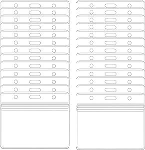HOSL Waterproof Clear Plastic Name Tag Holder Badge ID Card Holders with Waterproof Resealable Zip (Horizontal, 100PCS)
