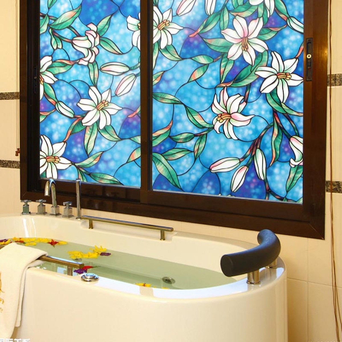 Viclover Stained Glass Window Film Non-Adhesive Static Vinyl Window Films Privacy Decorative Window Clings Color Flower Pattern Design 35.43 inches by 78.74 inches ZH-CS-VC