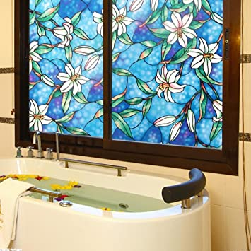 Amazoncom Viclover Static NonAdhesive Window Film Stained Glass - Stained glass window stickers amazon