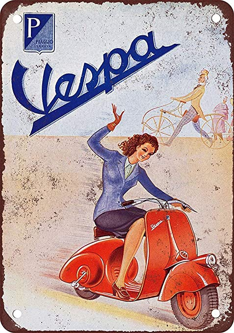 Shunry Vespa Motocycle Placa Cartel Vintage Estaño Signo ...