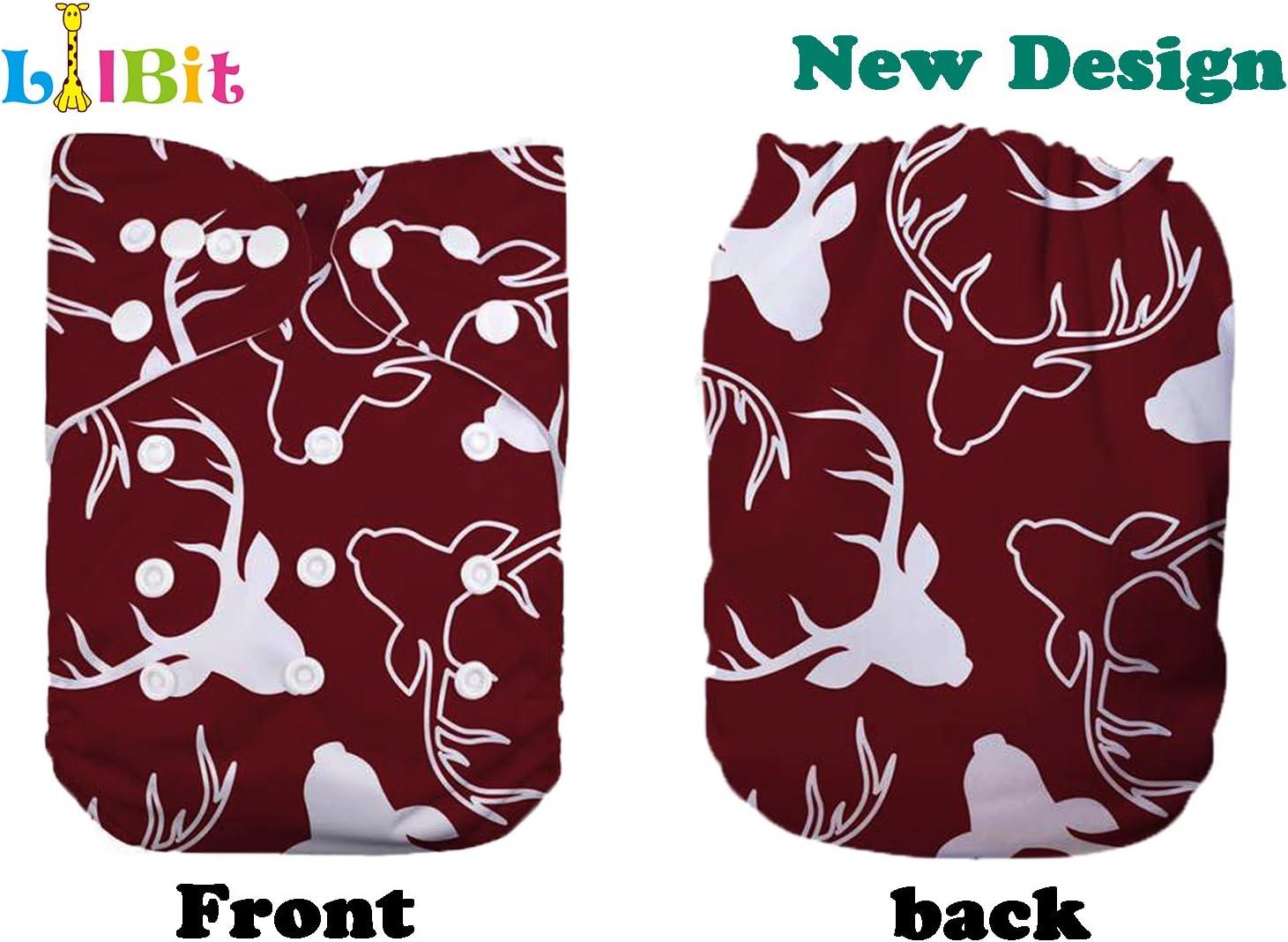 LilBit Baby 6pcs Inserts and 6 pcs Washable Adjustable Pocket One Size Cloth Diapers LBTZH09-UK