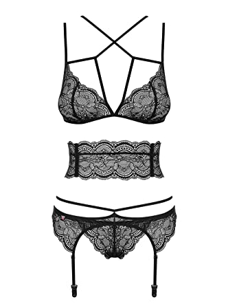 341b7a03784 Obsessive Frivolla Women's Lace Set Bra Thong Garter Belt 4 Piece ...
