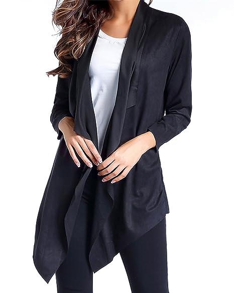 Amazon.com: ZANZEA Cascada chaqueta de punto, Draped Frente ...