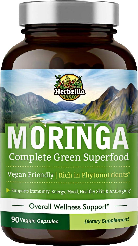 Organic Moringa Oleifera Leaf Powder Capsules 1200 mg, Complete Green Superfood, Non-GMO, No Gluten, Rich in Antioxidants & Nutrients, Energy, Immunity, Anti-Inflammatory for Men & Women, 90 Capsules