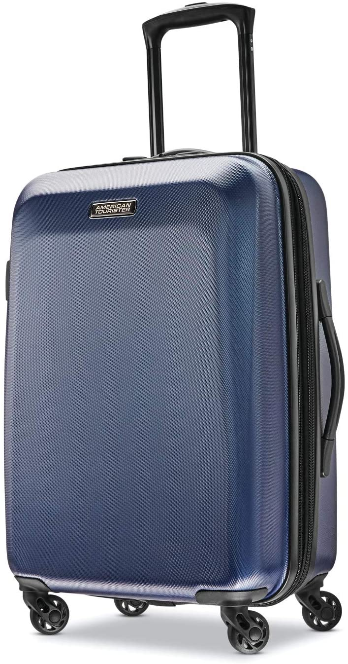 American Tourister Moonlight Hardside Expandable Luggage with Spinner Wheels, Navy, Carry-On 21-Inch