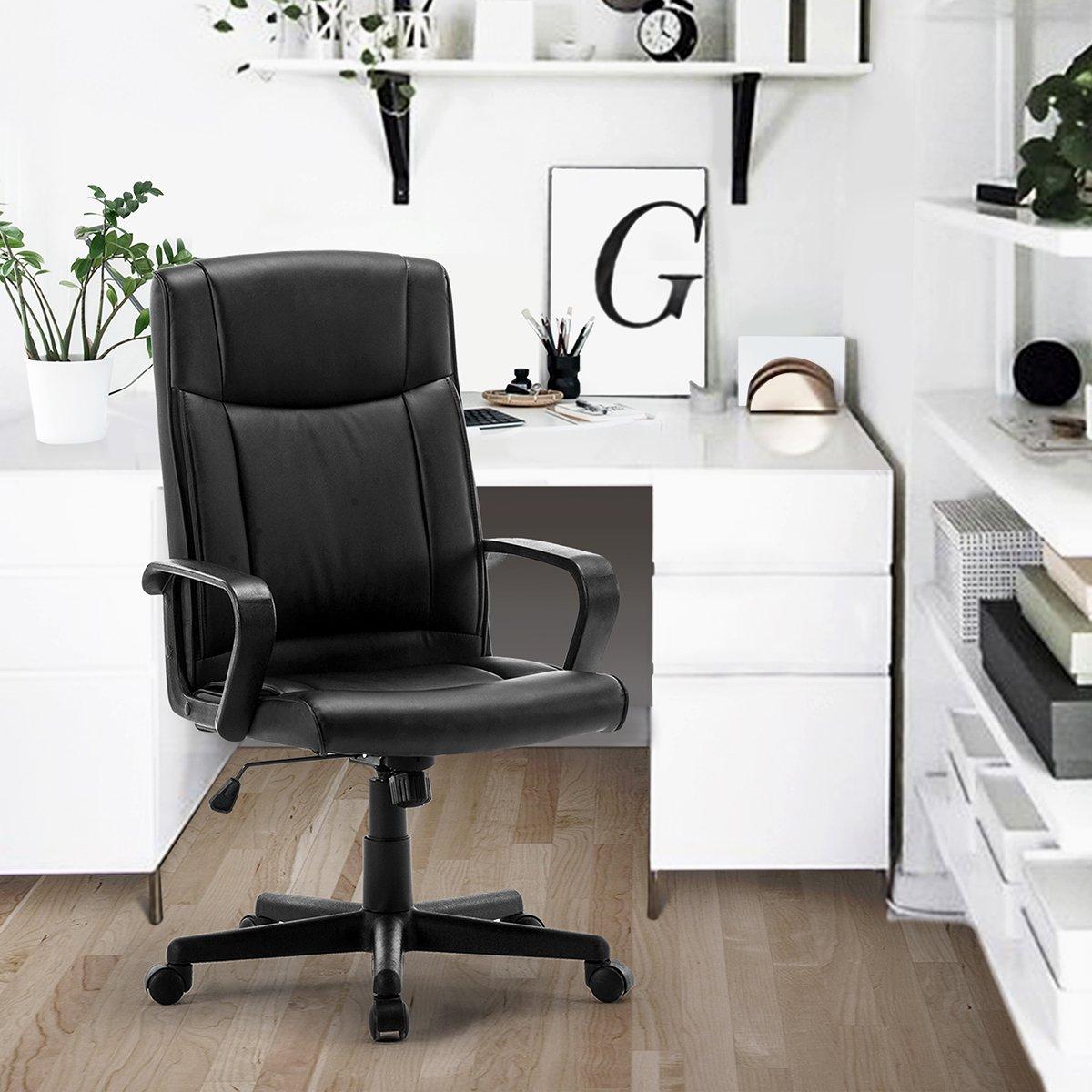 FurnitureR Silla de oficina giratoria ajustable respaldo elevado piel sintética poliuretano silla
