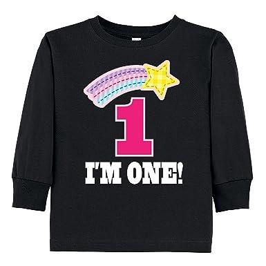 Inktastic 1st Birthday 1 Year Old Girls Toddler Long Sleeve T Shirt 2T Black
