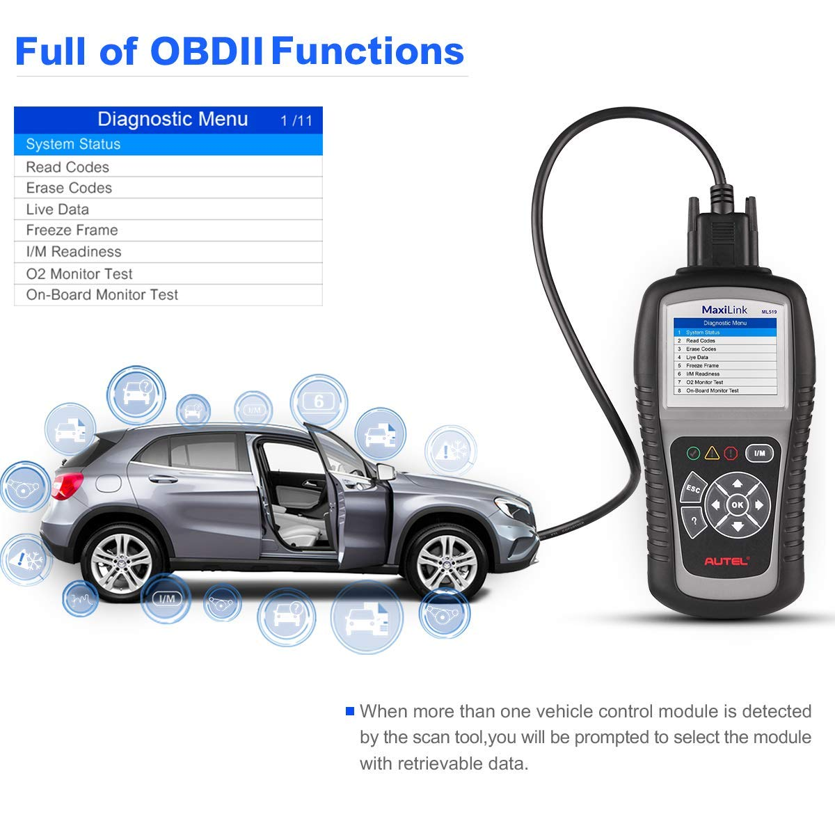 Autel MaxiLink ML519 OBDII/EOBD Scanner Enhanced OBD II Mode 6,Code Reader with The Same Function as al519 by Autel (Image #2)