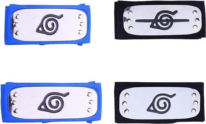 4 Pack Naruto Headband with Metal Plated Cosplay Accessories Japanese Leaf Village Sand Veil Akatsuki Yahiko Kakashi