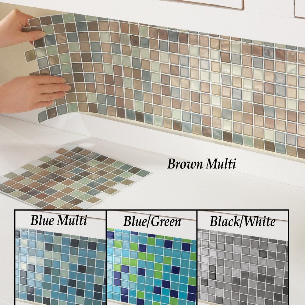 225 & Collections Etc Multi-Colored Adhesive Mosaic Backsplash Tiles for Kitchen and Bathroom - Set of 6 Brown Multi