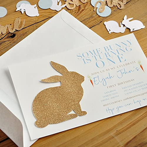 Amazon Com Some Bunny Is One Invitations Boy And Envelopes We