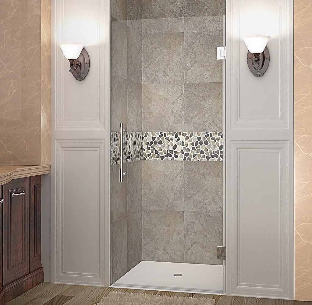 Aston Cascadia Completely Frameless Hinged Shower Door, 34'' x 72'', Stainless Steel