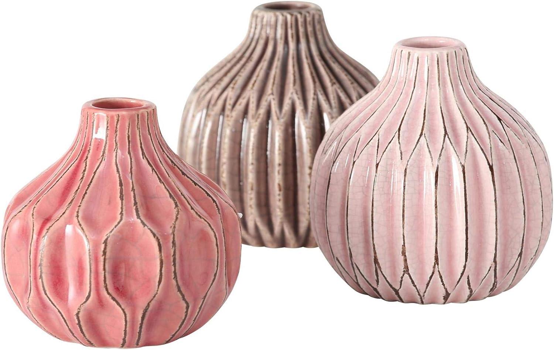 CasaJame 3 x Macetas de Interior y Exterior - Jarrones de Mesa de Cerámica para Plantas - Jardineras de Porcelana Decorativas con Estructura en Relieve - Terracota Rosa Beige Altura 11cm, Ø 11cm