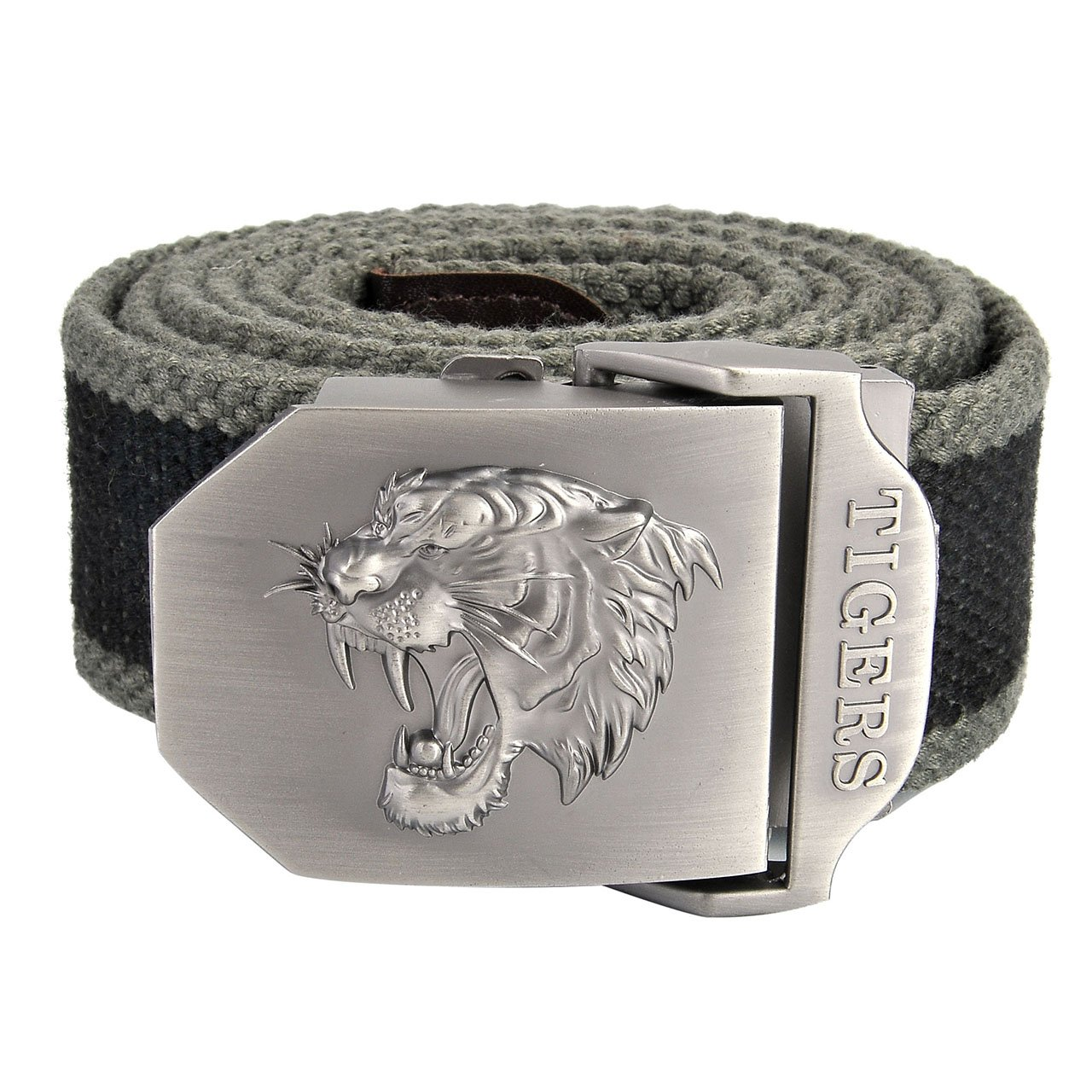 Faleto Mens Canvas Web Military Belt Outdoor Tactical Danger Tigers Head Buckle Thicken Belts with Gift Box