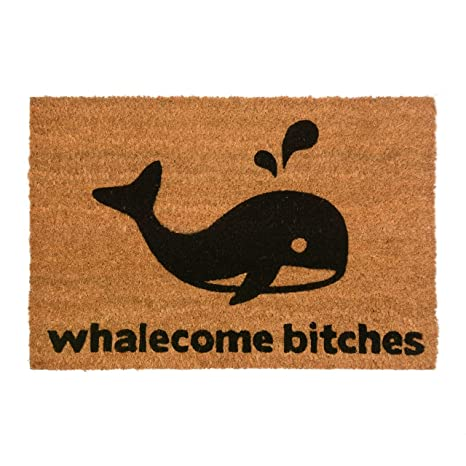 whalecome bitches novelty doormat