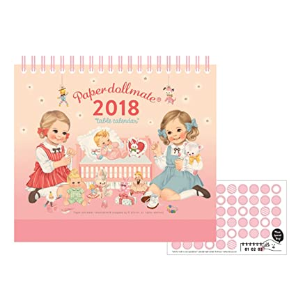 afrocat paper doll mate 2018 table calendar small size diary desk journal memo note