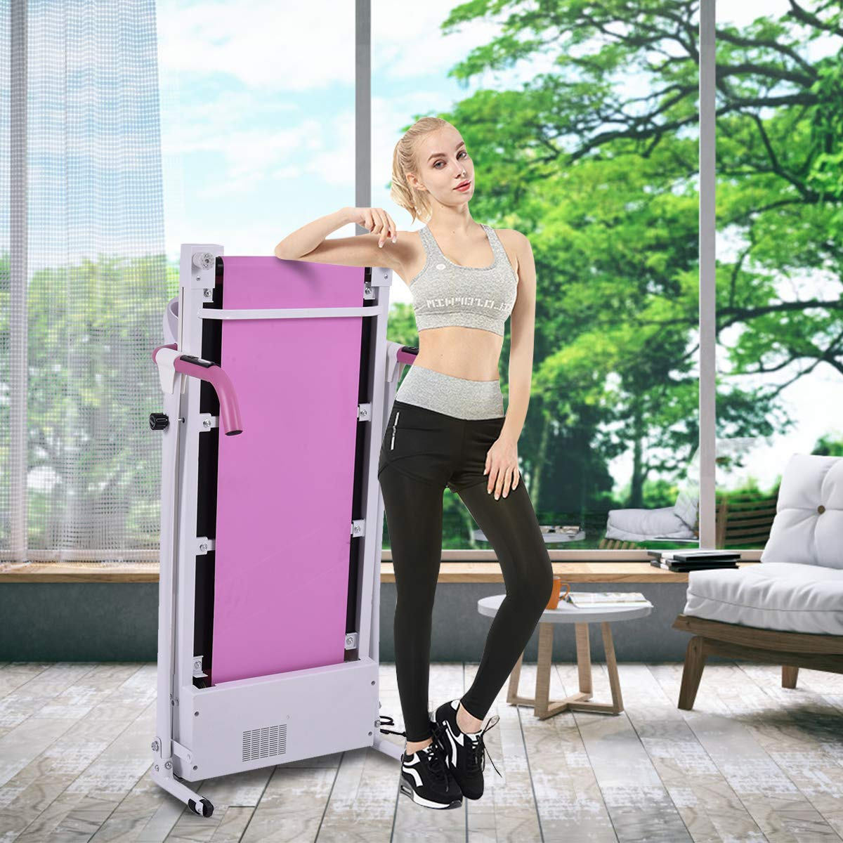 Goplus 800W Folding Treadmill Electric Motorized Power Fitness Running Machine with LED Display and Mobile Phone Holder Perfect for Home Use (Pink) by Goplus (Image #7)