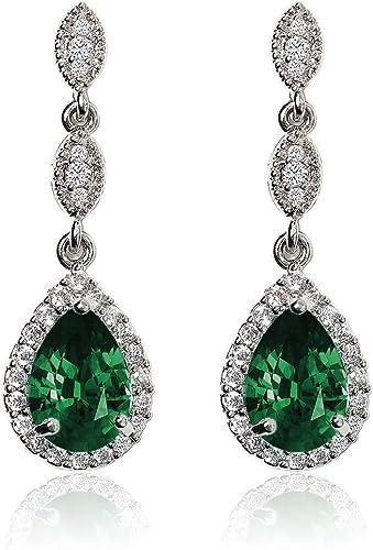 Gorgeous Pear Emerald Drop//Dangle Earrings Women Jewelry 14K White Gold Plated