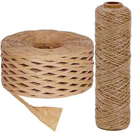 Supla 218 Yards Raffia Ribbon Natural Color Raffia Yarn Packaging Rafia and  328 feet Natural Jute Twine Thick String Roll 1mm for Crafts Gardening