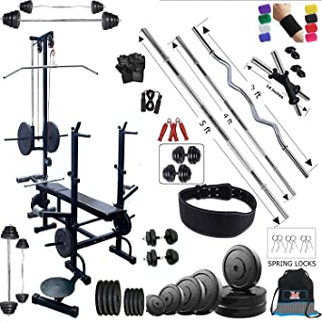 c75b6d8aec BodyFit 20 In 1 Bench Home Gym Exercise Kits With Plates (50 Kg) With 3 Ft  Curl Rod And 5 Ft Plain Rod + Accessoreis + Dumbbells Rods  Amazon.in   Sports