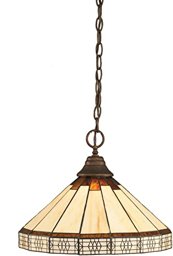 Toltec Lighting 10-BRZ-964 One-Light Chain Pendant Bronze with Honey and Brown Mission Tiffany Glass, 14-Inch