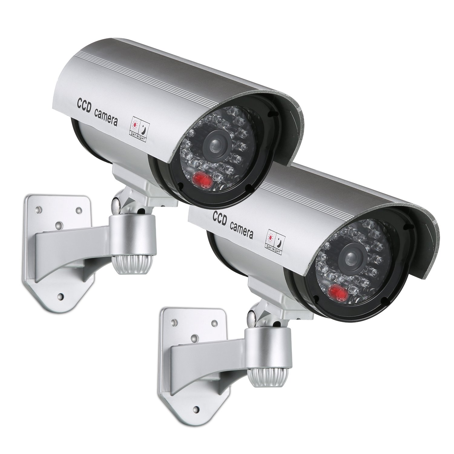 SANNCE Solar Powered Dummy Surveillance Bullet Fake CCTV Camera With Flashing Led-Grey Battery Recharged by Sun, Home or Business(Pack of 2)