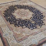 Yilong 9 x12  Persian Silk Rugs Classic Oriental Qum Floral Medallion Handmade Living Room Carpet (Midnight Blue...