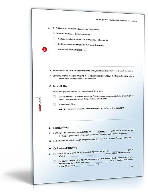 Kaufvertrag Küche Vertrag Zum Verkauf Einer Einbauküche Unter