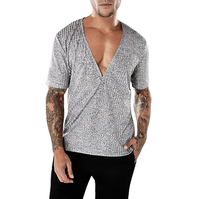 Eagerness T-Shirts Homme Manche Court Col V Chemise Manches Courtes Fitness  Exercice Running Sport 961db2864997