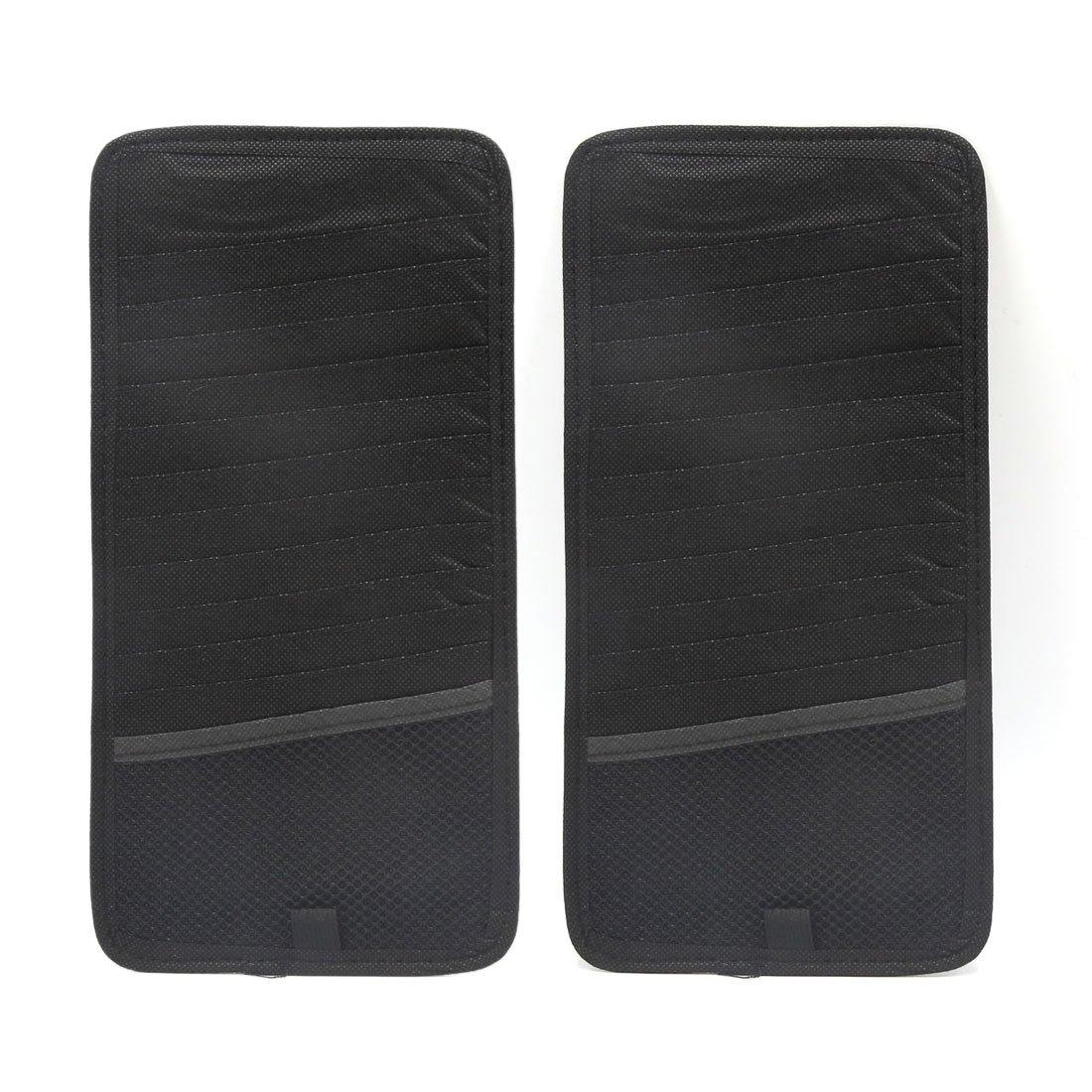 uxcell 2Pcs Black Rectangle Shaped Car CD DVD Sun Visor Card Storage Organizer Holder