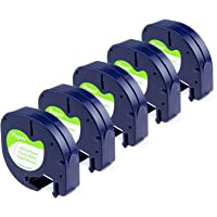 """Anycolor 5-Pack Compatible for DYMO LetraTag Tape 91330 (10697 S0721510) Self-Adhesive Paper Black Print on White Plastic Labeling Tape for LetraTag Label Makers, Letratag LT110T, Letratag LT110T PLUS, LT100H, QX50, XR Label Refills (1/2"""" x 13' 12mm x 4m)"""
