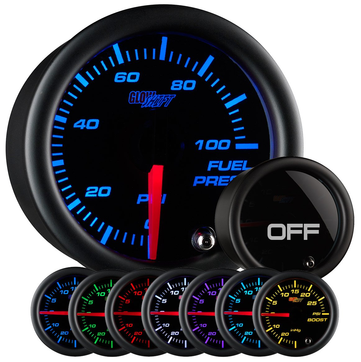 GlowShift Tinted 7 Color 100 PSI Fuel Pressure Gauge Kit - Includes Electronic Sensor - Black Dial - Smoked Lens - For Car & Truck - 2-1/16' 52mm FBA_GS-T711-SM