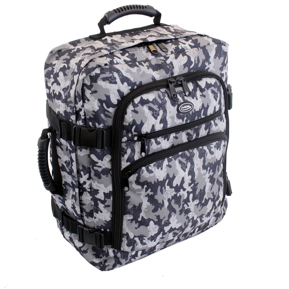 More4bagz Backpack Cabin Approved Carry On Flight Hand Luggage Rucksack Travel Holdall 45 Litres Bag - FITS 50cm x 40cm x 20cm (Camouflage)
