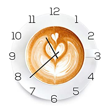 Wanduhr aus Glas 30x30cm Uhr als Glasbild Küche Cappuchino Kaffee ...