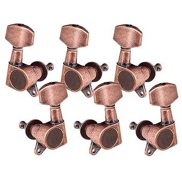 MagiDeal Cabezales de Máquina Tuning Peg Afinadores Clave 3R3L para Guitarra Eléctrica Folk Rojo Cobre: Amazon.es: Instrumentos musicales