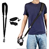 Camera Shoulder Neck Strap Wrist Strap Hand Strap Extra Long Neck Strap Quick Release and Safety Tether (Perfect for All DSLR)
