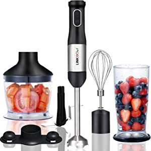 Immersion Blender LINKChef 4-in-1 Hand Blender Stick Powerful Low Noise Large 800ml Beaker, Stainless Steel Whisk and 500ml Food Chopper, BPA-Free, Red/Black(HB-1230)-3 Years Warranty (Silver and black-1)