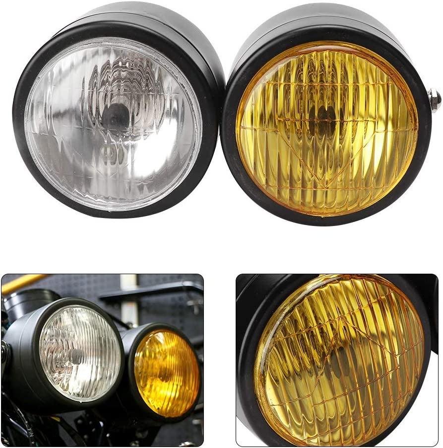 Black Grille+White Aramox Double Headlight,Universal Motorcycle 8.5in Iron Front Double Twin Round Headlight Lamp