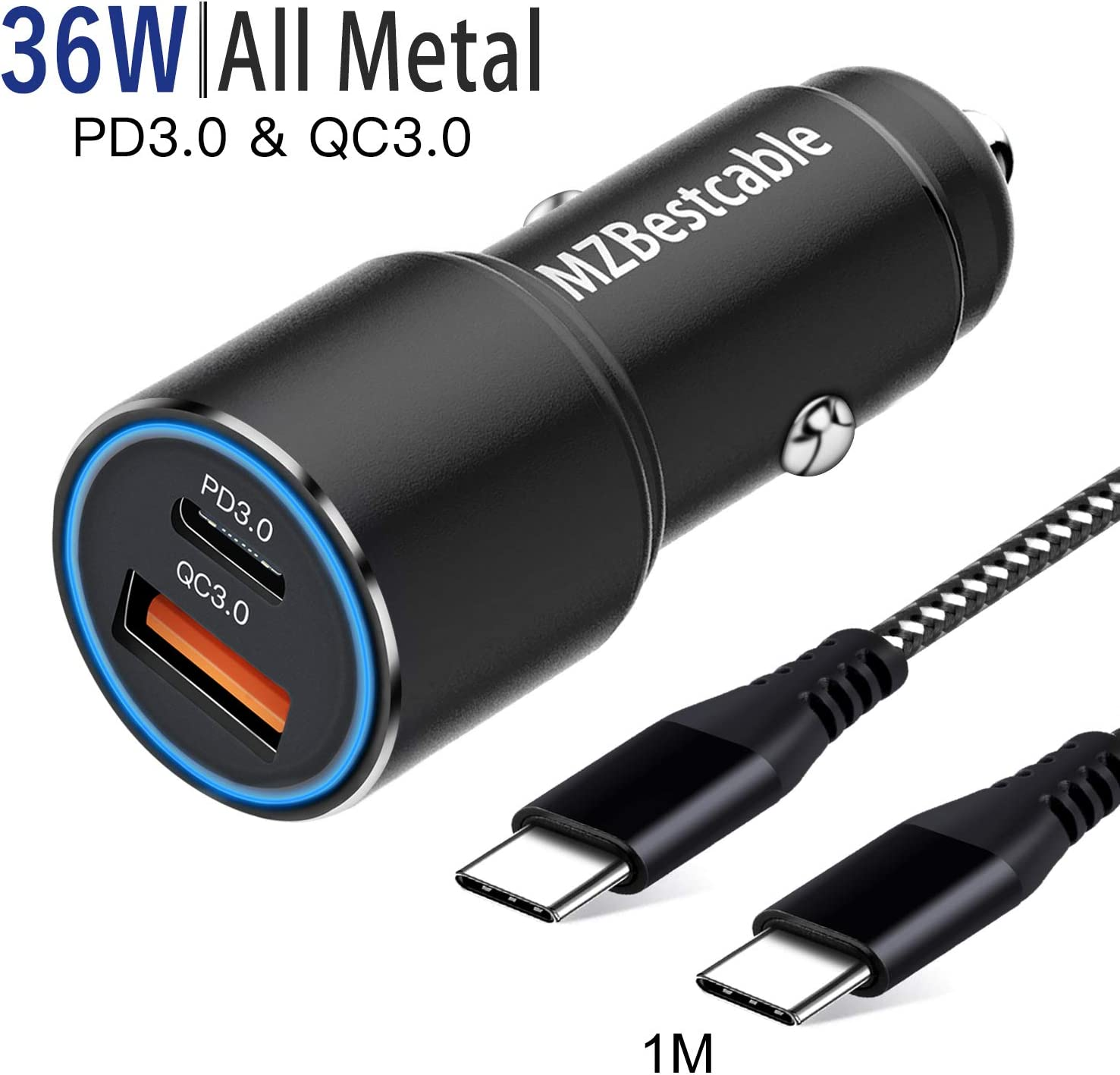 Cargador Coche USB Tipo C PD3.0+QC3.0 para Samsung S10 S20 Plus Ultra S9 S8,A71 A70 A51 A50 A80 A41 A31 A80,Note 20 10,XIaomi Redmi Note 9 Pro 8 8T,Mi 10,Huawei P30 Lite+1M C to C Cable,Carga Rapida
