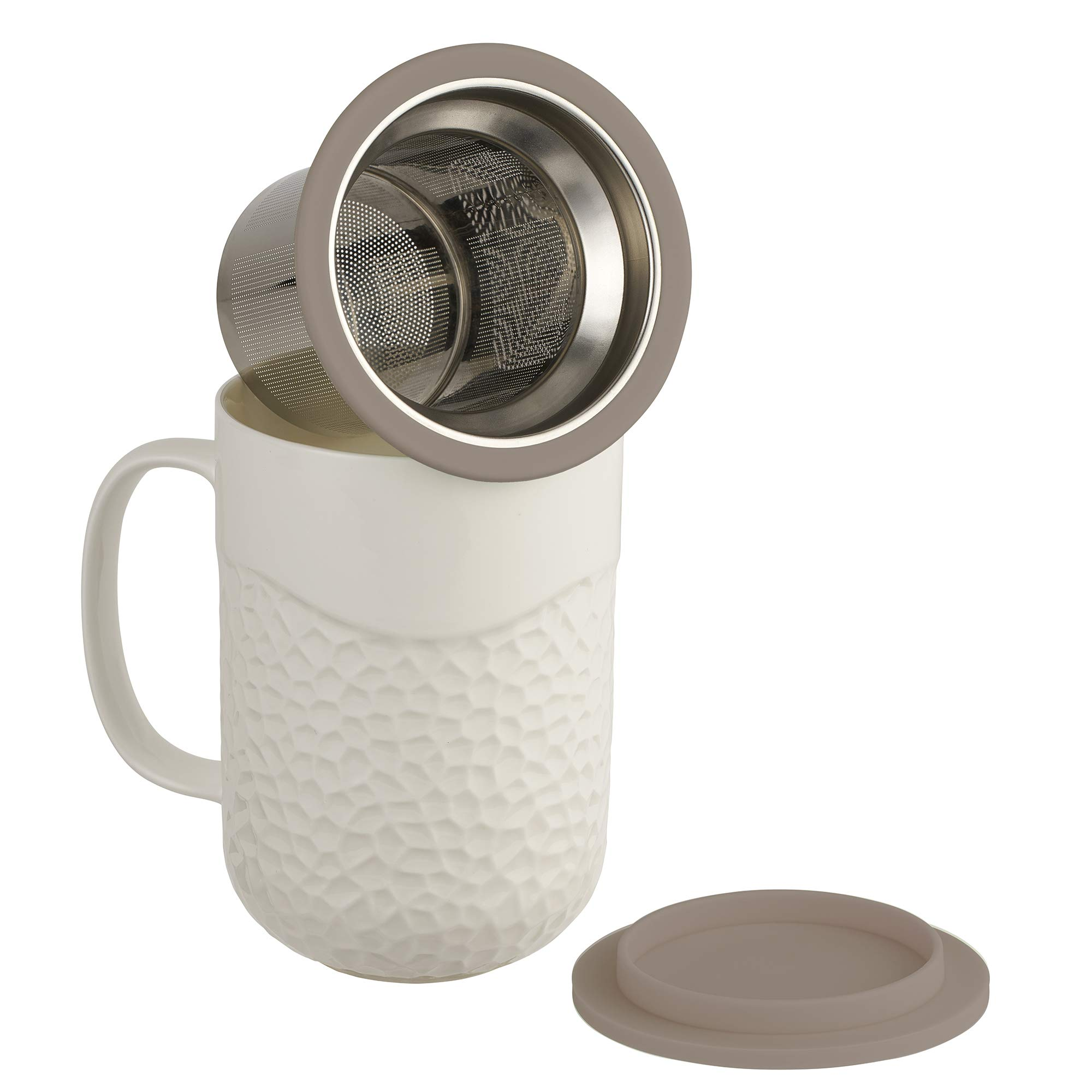 casaWare 15-Ounce Coral Textured New Bone China White Tea Infuser Mug with Lid/Coaster (Gray Lid)