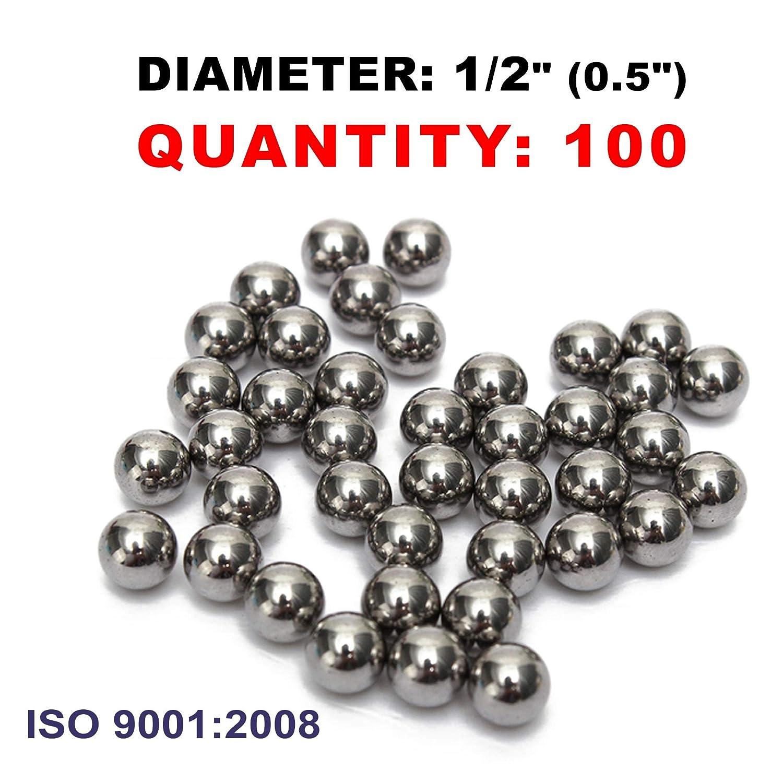 Slingshot Ammo 1//2 Inch 0.5 Caliber Precision Steel Bearing Balls 100 PCS PGN