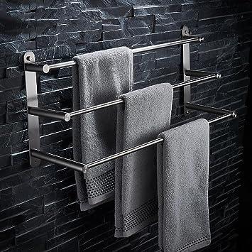 304 Edelstahl Geburstet Multifunktionale Badezimmer Handtuchhalter 3 Tier Handtuchhalter Badetuchhalter Bad Accessoires Grosse 100cm