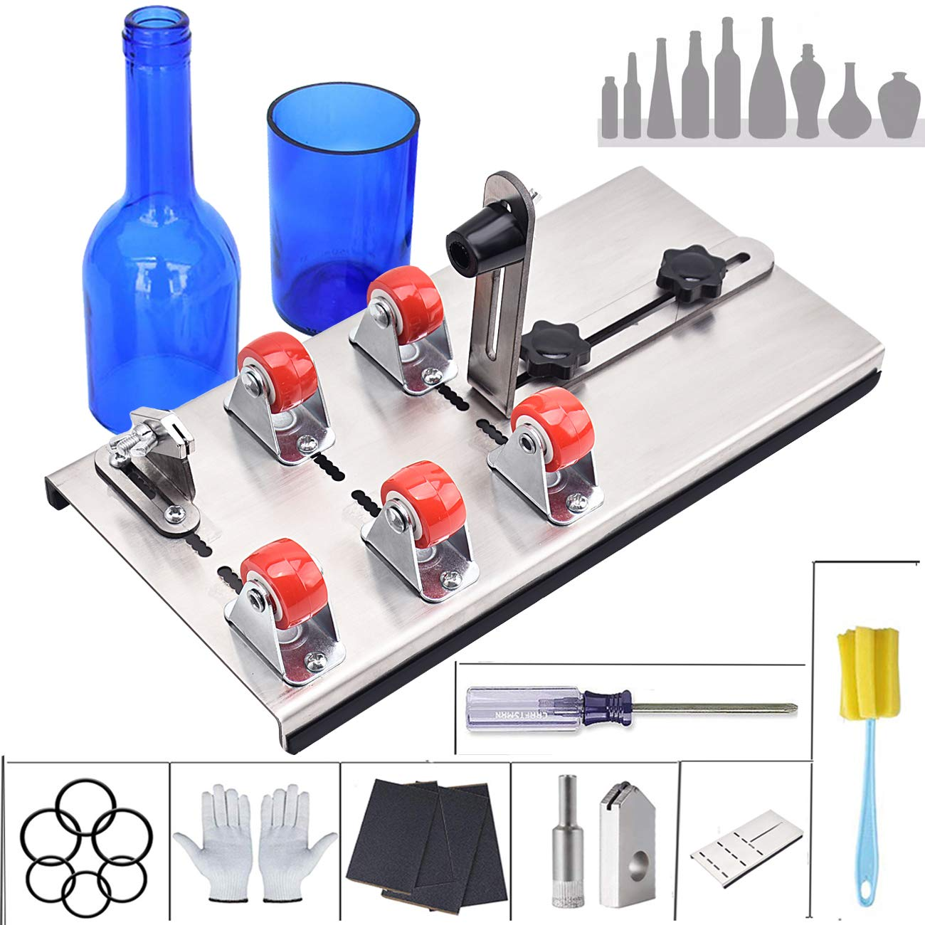 Bottle Cutter/Glass Bottles Cutter Bundle/Glass Cutting Tool kit/Glass Cutter Machine, 9 Pcs DIY Glass Bottle Crafts Production Cutting Set (arc/Oval/Round, Cut Bottle from Neck to Bottom) by Hotnew tools