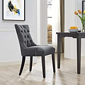 Modway Regent Modern Tufted Upholstered Fabric Kitchen and Dining Room Chair with Nailhead Trim in Gray