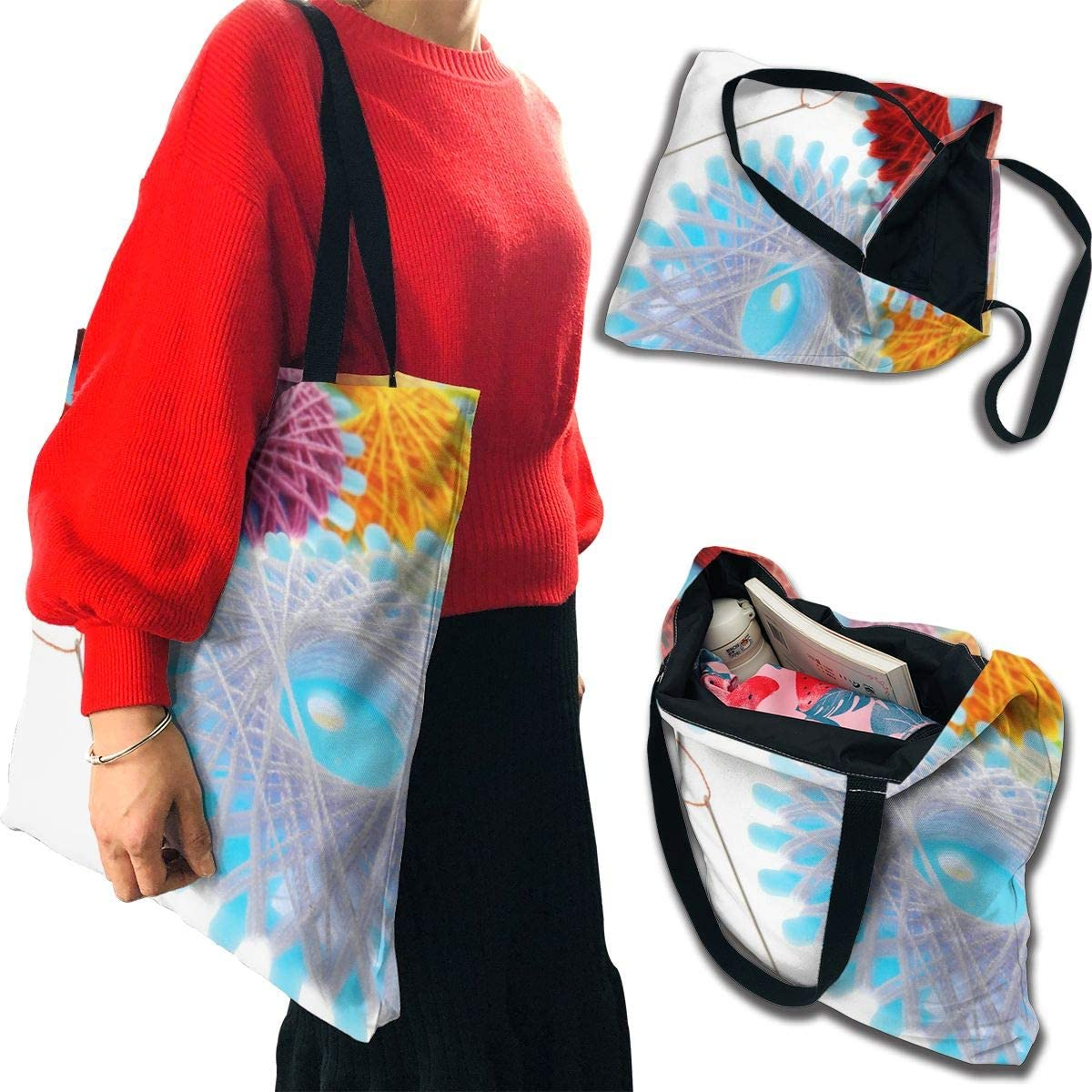 PengMin Creative Needle Flower Color Fashion Fashion Womens Multi-Pocket Vintage Canvas Handbags Miniature Shoulder Bags Totes Purses Shopping Bags