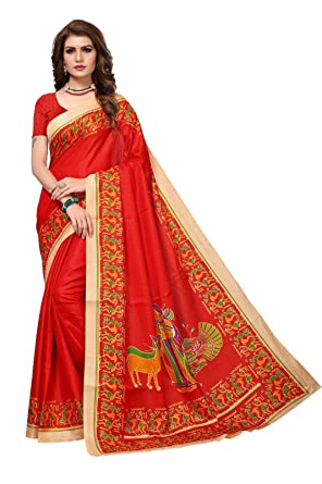 AKSHAR STORE Kalamkari Sarees For Womens Soft Art Khadi Silk Saree With Blouse Piece